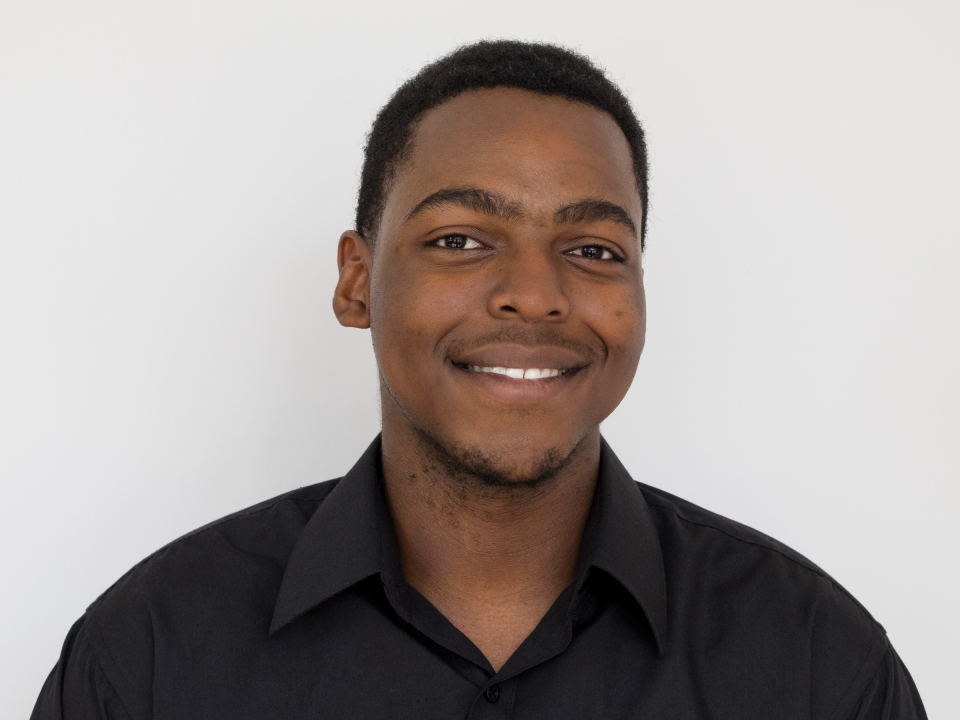 Head shot of young man on white